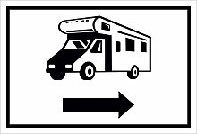 Schild – Wohnmobil Pfeil nach rechts– 15x20cm,