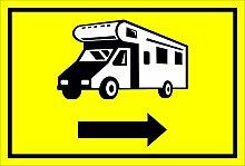 Schild - Wohnmobil Pfeil nach rechts- 15x20cm,
