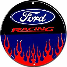 Schilder 4 Fun Ford Racing W/Flammen rund Schild