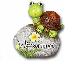 Schildkröte auf Stein Gartendeko Deko Garten Tier