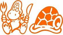 Schildkröte Aufkleber 002, 30 cm, orange