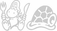 Schildkröte Aufkleber 002, 50 cm, silber