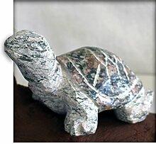 Schildkröte ca. 15 cm lang aus Granit rot grün Gartendeko Skulptur Figur Garten Deko Naturstein