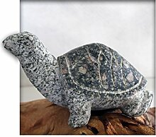 Schildkröte ca.20 cm lang aus Granit rot/grün Gartendeko Skulptur Figur Garten