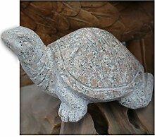 Schildkröte ca.30 cm lang aus Granit rot Gartendeko Skulptur Figur Garten
