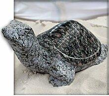 Schildkröte ca.30 cm lang aus Granit rot/grün Gartendeko Skulptur Figur Garten