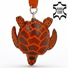 Schildkröte Helga - Landschildkröten Schlüsselanhänger Figur aus Leder in Stofftier / Kuscheltier / Plüschtier von Monkimau in braun - Dein bester Freund. Immer dabei! - ca. 5cm klein