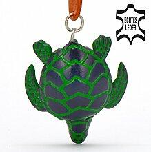 Schildkröte Helga - Landschildkröten Schlüsselanhänger Figur aus Leder in Stofftier / Kuscheltier / Plüschtier von Monkimau in grün - Dein bester Freund. Immer dabei! - ca. 5cm klein