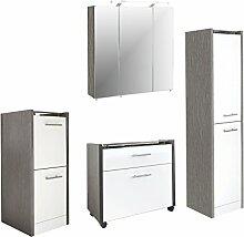 Schildmeyer 701025 Badmöbel, Holz, eschegrau weiß, 160 x 35 x 157.5 cm