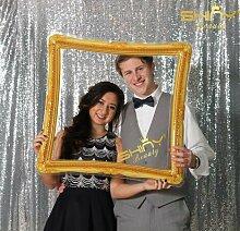 Schimmernder Paillettenvorhang als Hintergrund für Fotoaufnahmen, Vorhang, Hintergrund für Fotokabinen, Hochzeiten, von ShinyBeauty, silber, 10FTx10FT