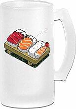 Schlafen Sushi Milchglas Stein Bierkrug, Pub