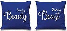 Schlafende Schönheit Schnarchen Biest Blau