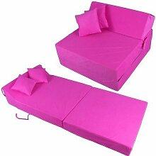 Schlafsessel 180x80x38cm mit 2 Kissen Klappmatratze Gästebett Bettsessel Schlafsofa Faltmatratze (rosa)