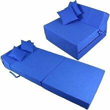 Schlafsessel 180x80x38cm mit 2 Kissen Klappmatratze Gästebett Bettsessel Schlafsofa Faltmatratze (blau)
