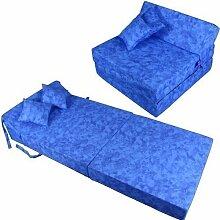 Schlafsessel 180x80x38cm mit 2 Kissen Klappmatratze Gästebett Bettsessel Schlafsofa Faltmatratze (marmor-blau Baumwolle)
