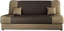 Schlafsofa Jonas, Sofa mit Bettkasten und Schlaffunktion, Bettsofa, Dauerschläfer-sofa, Schlafcouch, Materialmix, Couch vom Hersteller, Wohnlandschaft (Bahama 6 + Bahama 8)
