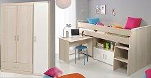 Schlafzimmer 2-tlg. inkl 90x200 Etagenbett u Kleiderschrank 3-trg Charly 6 von Parisot Akazie / Weiß