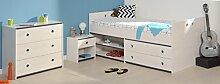 Schlafzimmer 3-tlg. inkl 90x200 Stauraumbett Smoozy 23a von Parisot Kiefer Weiss / Blau by Wohnorama