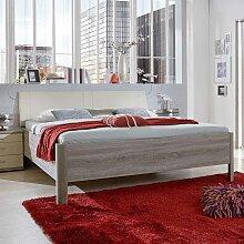Schlafzimmer Bett mit Polsterkopfteil in Creme Weiß Trüffeleiche