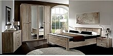 Schlafzimmer komplett Set Eiche sägerau Bett