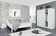 Schlafzimmer Landström 163 weiß 4-teilig Bett 180x200 Schrank Nachttisch Gästezimmer Landhausmöbel
