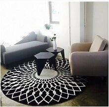 Schlafzimmer Matten Nordic Art und Weise Teppich Schwarz-Weiß-runder Teppich Wohnzimmer Kaffeetisch Großer Teppich Schlafzimmer Studie Teppich Teppich Teppich Bad Matten ( farbe : #2 , größe : 160cm )