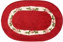Schlafzimmer Matten rutschfeste matten teppich mats fußabtreter rustikalen oval - 60 40 * Bad Matten ( Farbe : Dunkelrot )