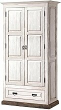 Schlafzimmer-Schrank Kiefer massiv Braun / Weiß 204x104x56 cm