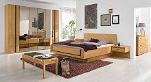 Schlafzimmer Set Falttürenschrank, Eiche natur