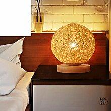 Schlafzimmer,Solide Holz Rattan Tischleuchte/Weben Sie,Simple,Nachttischlampe/Kreative,Mode,Hölzerne Geschenk/Hochzeit Kleine Lampe
