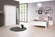 Schlafzimmerbett Bett Home 140x200 cm Weiß Landhausstil