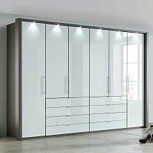 Schlafzimmerkleiderschrank in Braun und Weiß Glas