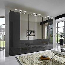 Schlafzimmerschrank in Dunkelgrau Glas beschichtet Spiegel