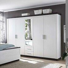 Schlafzimmerschrank in Weiß Braun Landhaus
