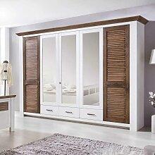 Schlafzimmerschrank in Weiß Kiefer Braun abschließbar
