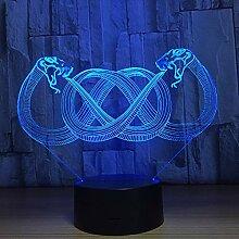 Schlange 3D Illusion Nachtlicht LED USB Tischlampe