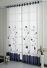 Schlaufen Transparent Gardinen Vorhang Schlaufenschal Deko fuer Wohnzimmer B*H 140*225 CM Blau