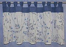 Schlaufenpanneaux Blüten blau und Ranken