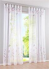 Schlaufenschal Transparent Schlaufenschal Gardine Deko-Vorhang Fenster-Vorhang 2er Set Lila B*H 150*225 cm