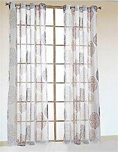 Schlaufenschal Vorhaenge mit Oesen Gardine Deko-Vorhang Fenster-Vorhang Oesenvorhang 2er Set 140*145CM Braun