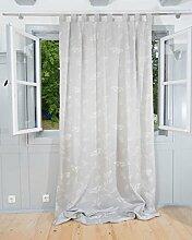 Schlaufenvorhang Fertigvorhang mit Schlaufen und Kräuselband Fara Schmetterling 245x140cm grau