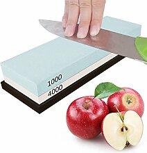 Schleifstein für Messer, BLESSING Doppelseitig 1000/4000 Körnung Wetzstein Abziehstein mit rutschfestem Silikonhalter