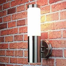 Schlichte Außenlampe Edelstahl Silber IP44 33cm
