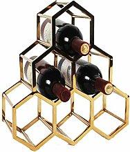 Schlichtes modernes Weinregal mit Wabenmuster,