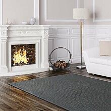 Schlingen Teppich Cambridge - Farbe wählbar - Geprüfte Qualität: schadstoffgeprüft pflegeleicht robust und antistatisch - für Wohnzimmer Schlafzimmer Flure Büros und auch Fußbodenheizung geeignet, Farbe:Grau, Größe:400 x 400 cm