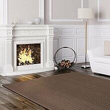 Schlingen Teppich Cambridge - Farbe wählbar - Geprüfte Qualität: schadstoffgeprüft pflegeleicht robust und antistatisch - für Wohnzimmer Schlafzimmer Flure Büros und auch Fußbodenheizung geeignet, Farbe:Braun, Größe:160 x 180 cm