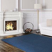 Schlingen Teppich Cambridge - Farbe wählbar - Geprüfte Qualität: schadstoffgeprüft pflegeleicht robust und antistatisch - für Wohnzimmer Schlafzimmer Flure Büros und auch Fußbodenheizung geeignet, Farbe:Blau, Größe:300 x 300 cm