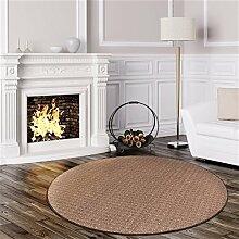 Schlingen Teppich Cambridge rund - Farbe wählbar - Geprüfte Qualität: schadstoffgeprüft pflegeleicht robust und antistatisch - für Wohnzimmer Schlafzimmer Flure Büros und auch Fußbodenheizung geeignet, Farbe:Braun, Größe:133 cm rund