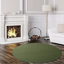 Schlingen Teppich Cambridge rund - Farbe wählbar - Geprüfte Qualität: schadstoffgeprüft pflegeleicht robust und antistatisch - für Wohnzimmer Schlafzimmer Flure Büros und auch Fußbodenheizung geeignet, Farbe:Grün, Größe:200 cm rund