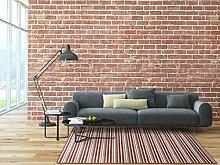 Schlingen Teppich Chipmunk - Farbe: Braun, Grau oder Rot gestreift   hochwertige und strapazierfähige Qualität   Fußbodenheizung geeignet   für Wohnzimmer Schlafzimmer Kinderzimmer und Büro, Farbe:Rot, Größe:150 x 250 cm